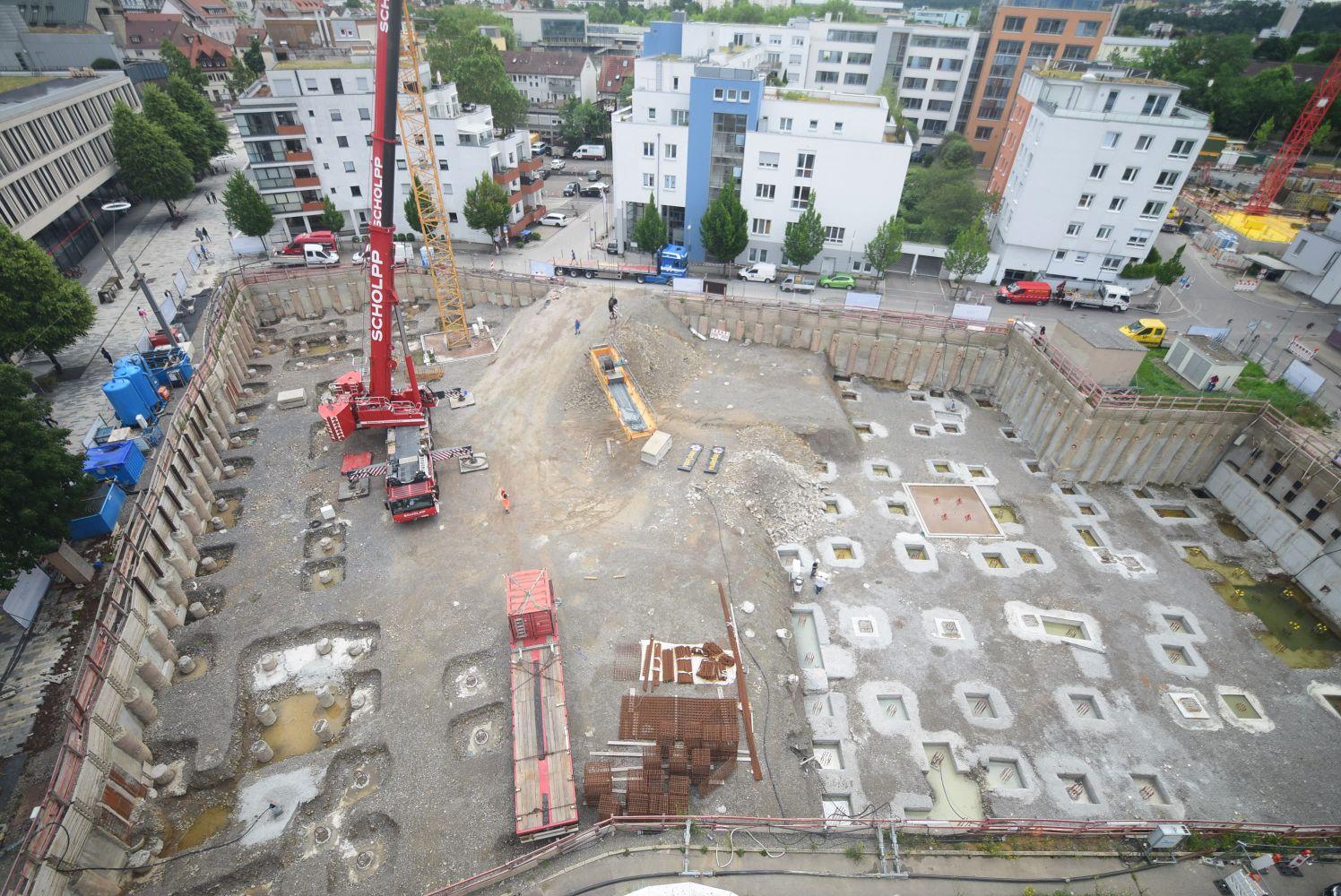 Die Baustelle am Böblinger City Carré aus der Vogelperspektive. Copyright: QUARTERBACK Immobilien AG.