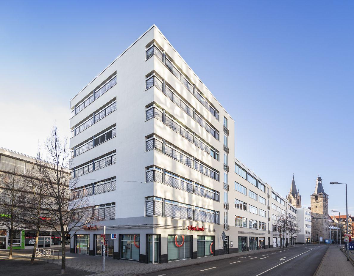 Das Büro- und Geschäftshaus am Anger 81 / Krämpferstraße 2-6 in Erfurt. Quelle: BNP Paribas Real estate.